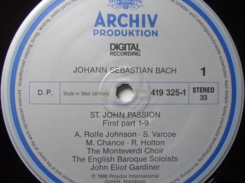 Archiv Digital / GARDINER, - Bach St. John Passion, NM, 2LP Box Set!