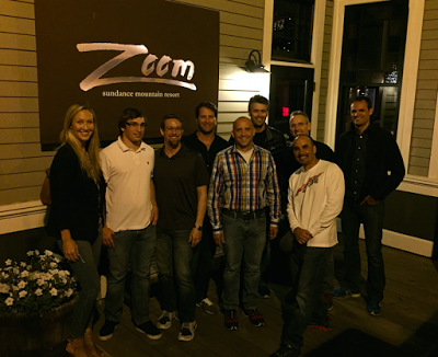 Outside Robert Redford's restaurant Zoom: Megan Carpenter, Anthony Dagostino, Bill Winterberg, Mike Wilson, Eric Clarke, J.D. Bruce, Peter Giza, Billy Oliverio and Jud Mackrill.