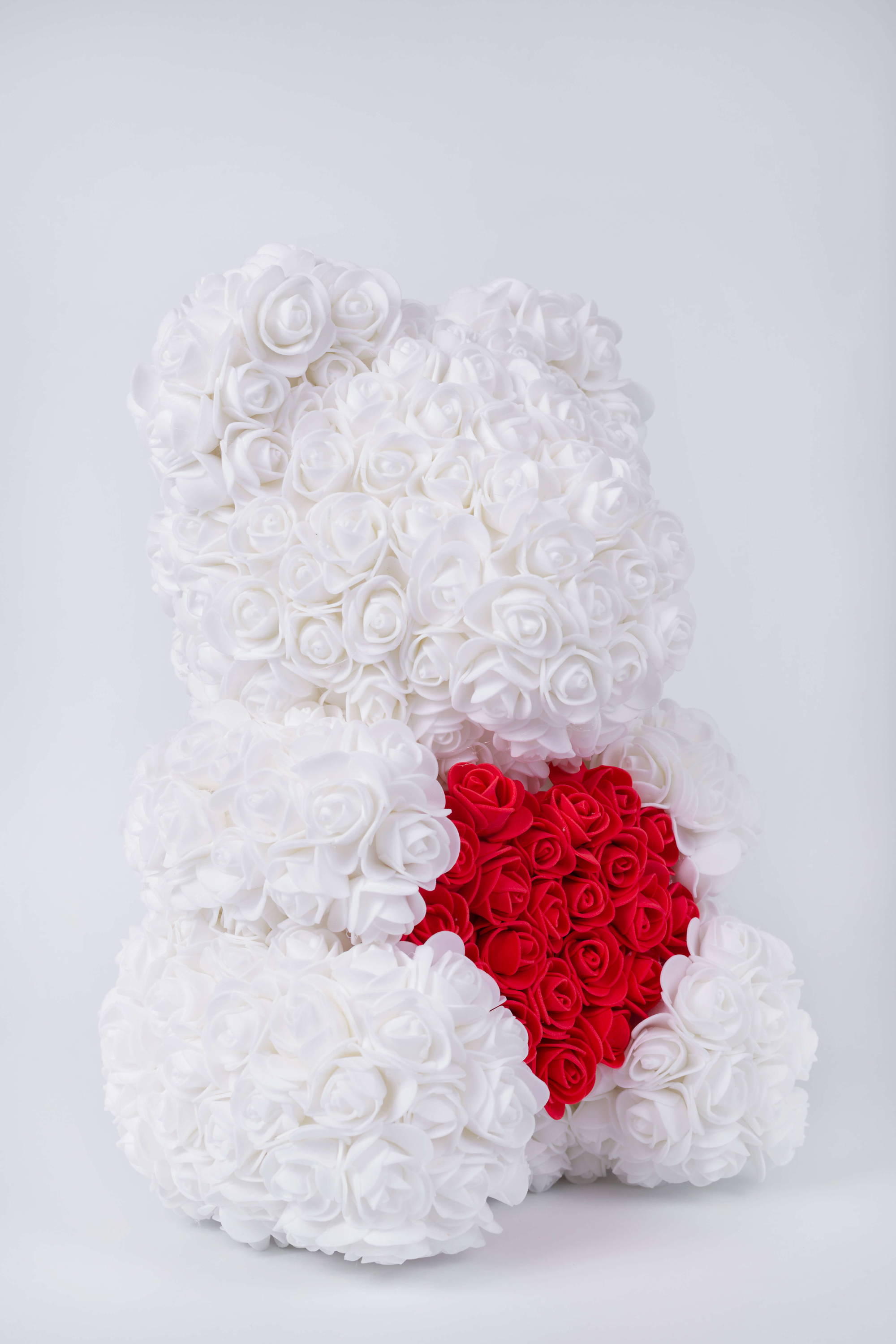 white rose bear, rose bear valentines day, styrofoam teddy bear