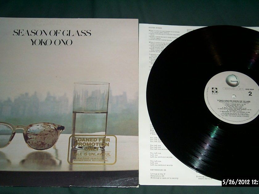 Yoko Ono - Season Of Glass LP NM Quiex II Colored Vinyl Promo Pressing