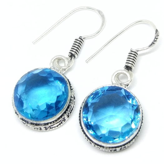 Серьги с голубыми топазами серебро 925