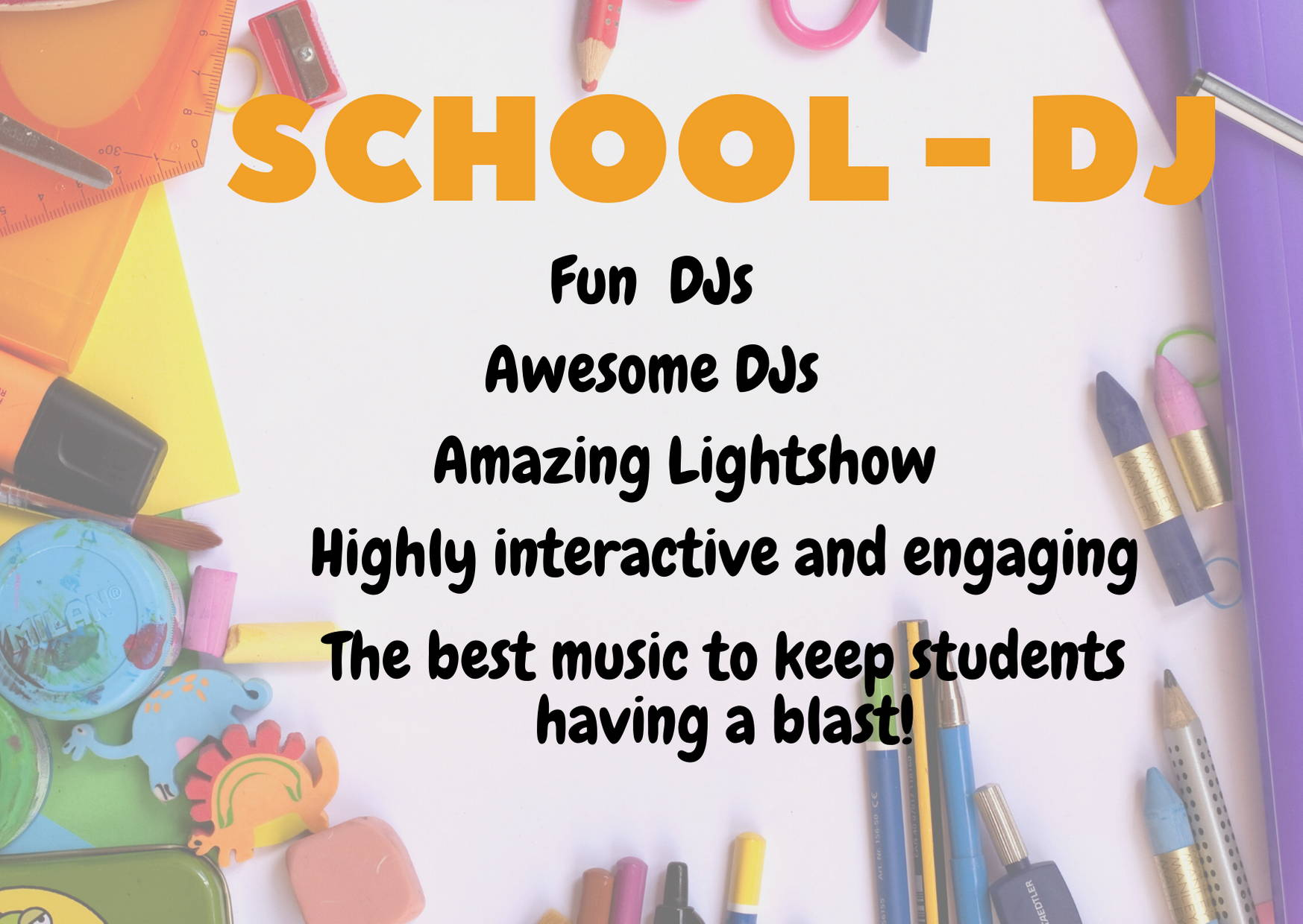 List of Inclusions available for School DJ Photobooth Package