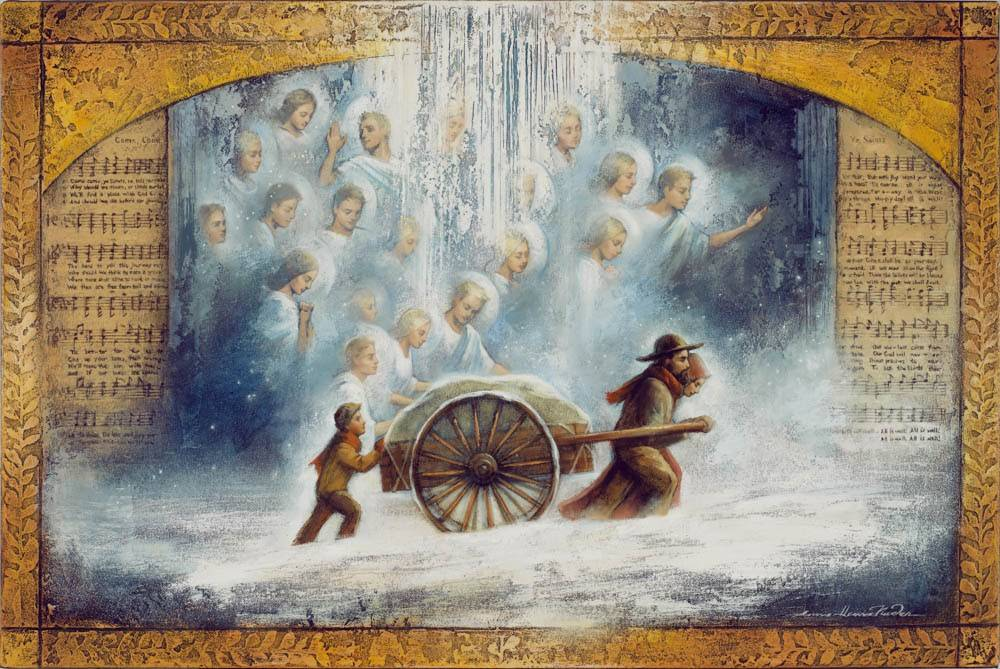 LDS painting of pioneer family pushing a handcart through the snow, assisted by angels.