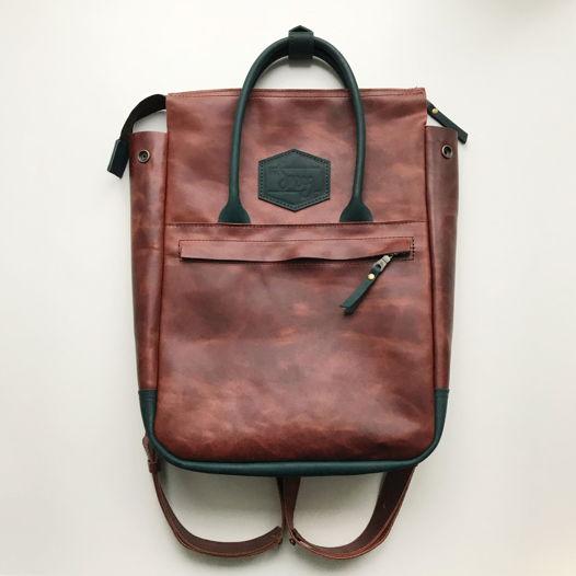 Кожаный рюкзак-сумка Urban Pack Brown/Green