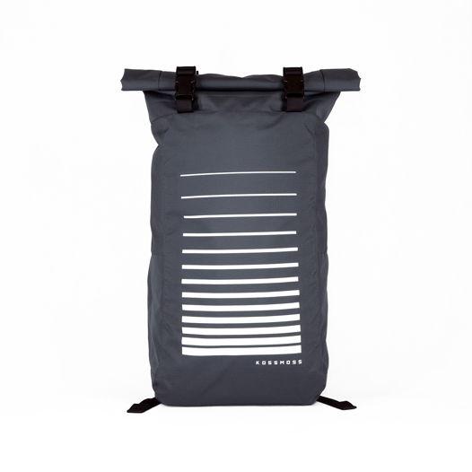Серый роллтоп рюкзак со светоотражающим принтом / Gray Reflective Backpack