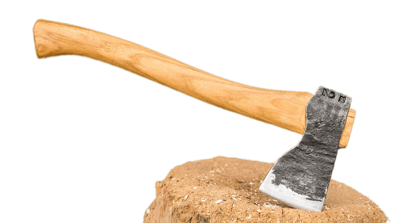 axe embedded in to small chopping block