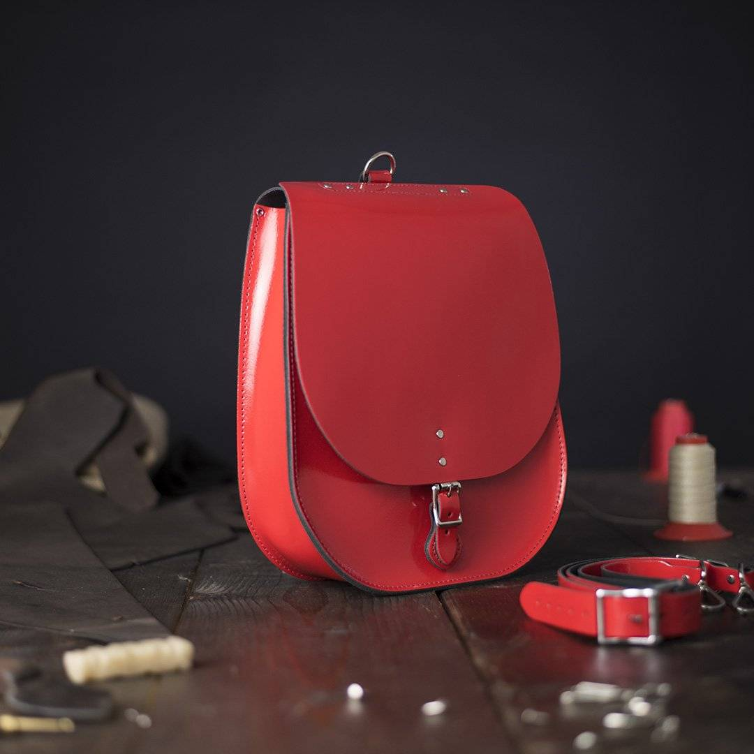 Red Saddlebag Leather Backpack