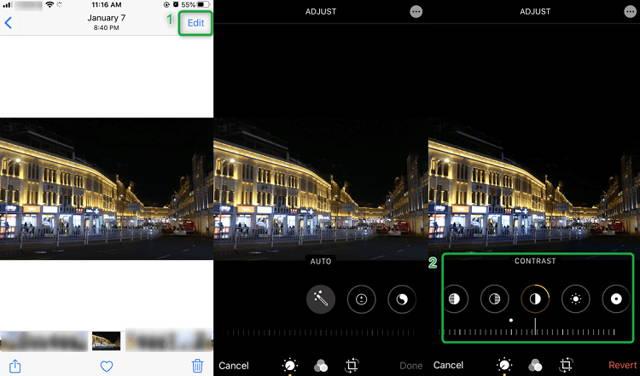 Edit photo colors via mobile