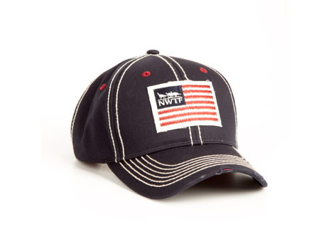 Men's Navy Twill Cap w/ Embroidered Front Applique