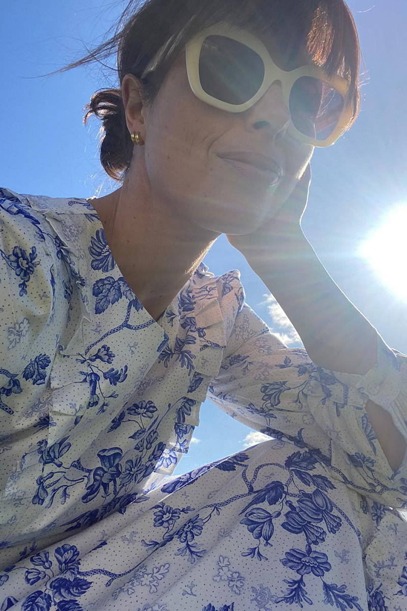 Isabel Spearman of the Daily Dress Edit wearing the YOLKE's Wallflower Adelaide Dress