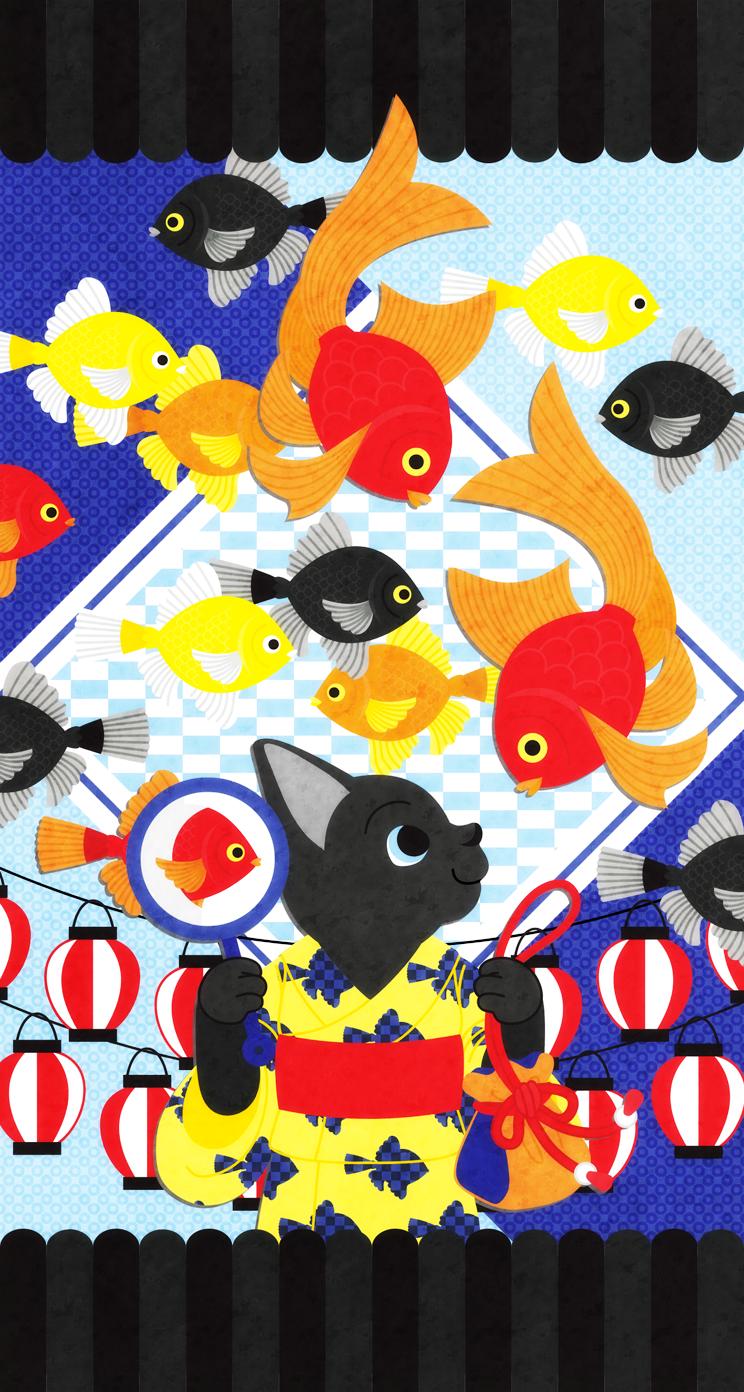 夏祭り猫と金魚 Iphone壁紙デザイン Ios7 Iphone5s 5c 5サイズ744 1392pixel むしとりねこ Awrd アワード