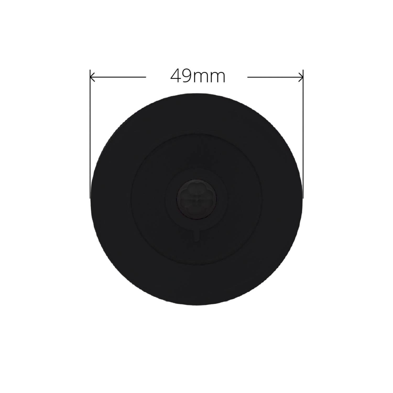 Black Faradite IP67 Motion Sensor 360 49mm front dimensions