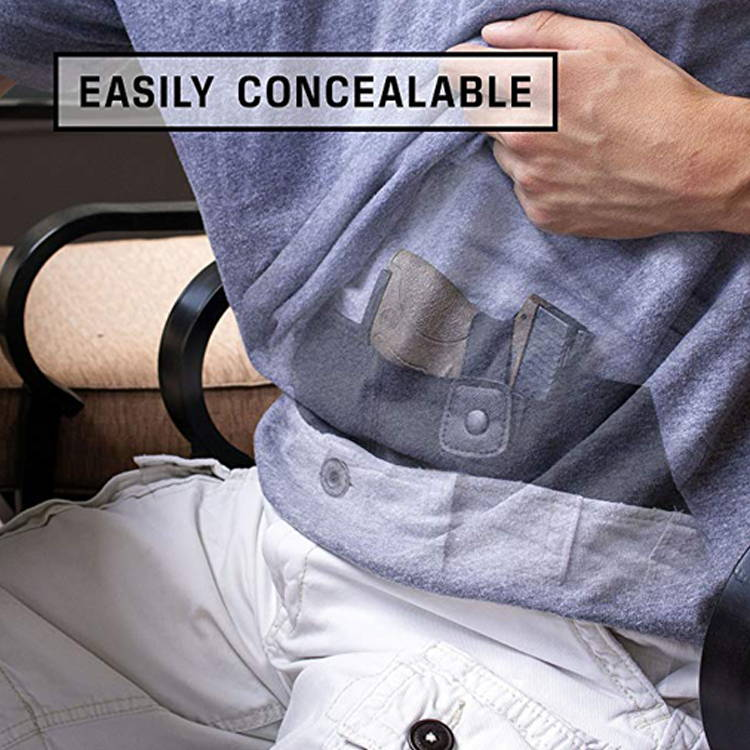 man easily concealing in belly holster,