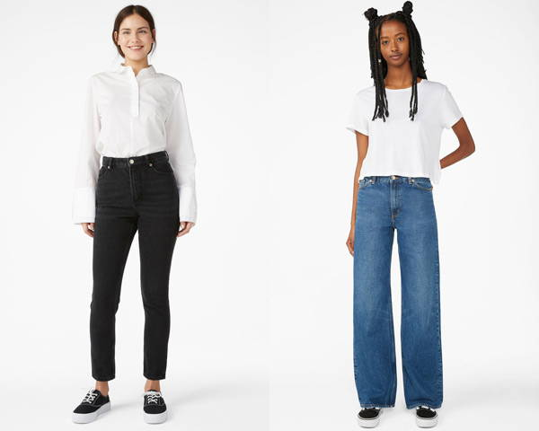 Woman wearing black organic cotton jeans from sustainable brand Monki