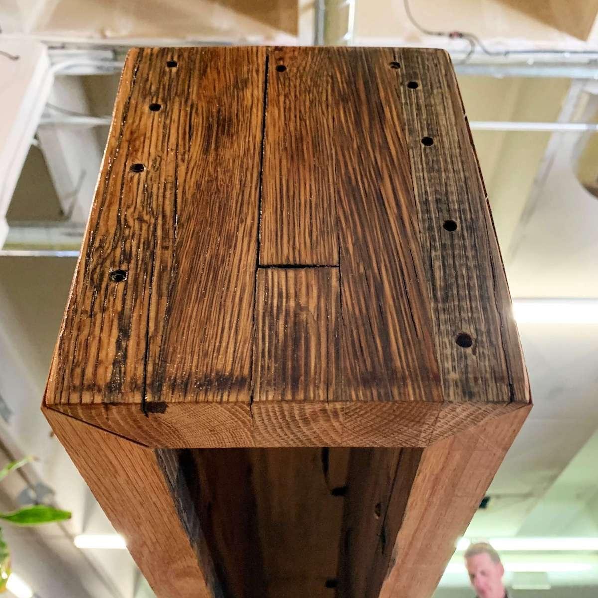 salvaged oak box beam from below