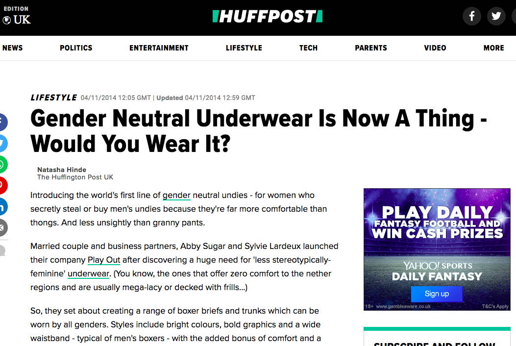 Huffington Post UK - Gender Neutral Underwear Is Now A Thing - Would You Wear It?