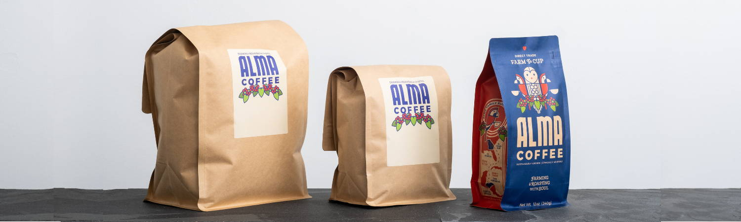 wholesale coffee options from Alma Coffee including 12oz, 2lb, and 5lb bag