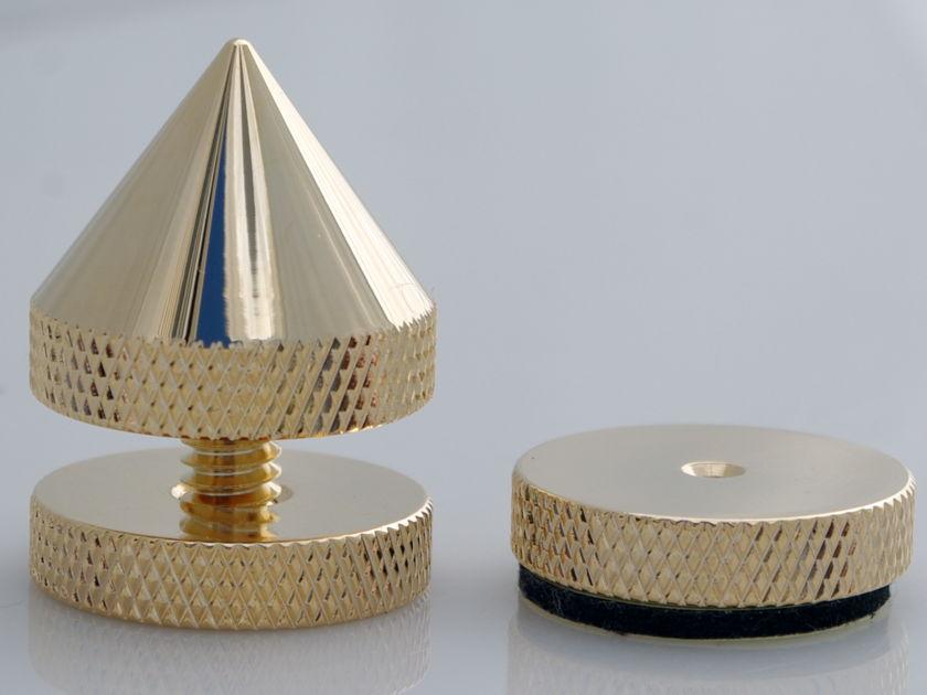 SuperCellAudio ® Sound Isolation Audio Cones Set of 8, Gold Plated