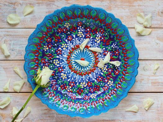 Керамическое блюдо большое (голубое)