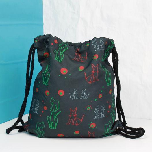 Детский рюкзачок Fishcard с зеленом узором Собаки-кошки