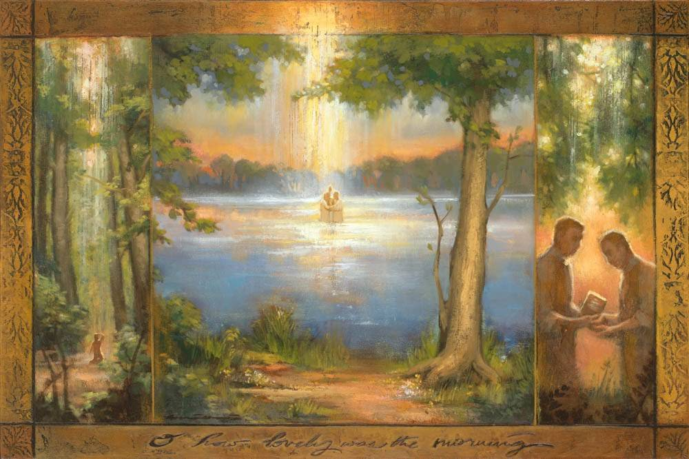 LDS art print of a triptych. The first section shows the First Vision, the second shows the restoration of the keys of baptism, and the third shows Joseph presenting the first print of the Book of Mormon.