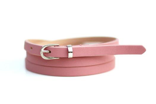 Кожаный узкий ремень (розовый)