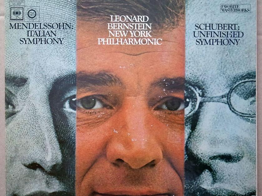 COLUMBIA 2-EYE | BERNSTEIN/SCHUBERT - Unfinished / MENDELSSOHN Italian Symphony / VG+