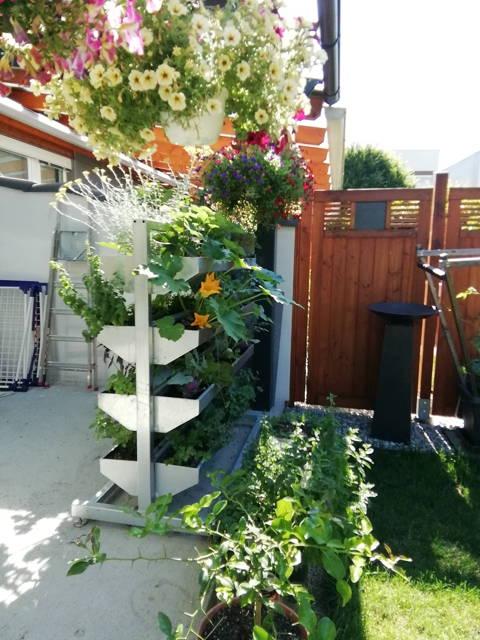 Vertikalbeet auf einer Terrasse, Hochbeet