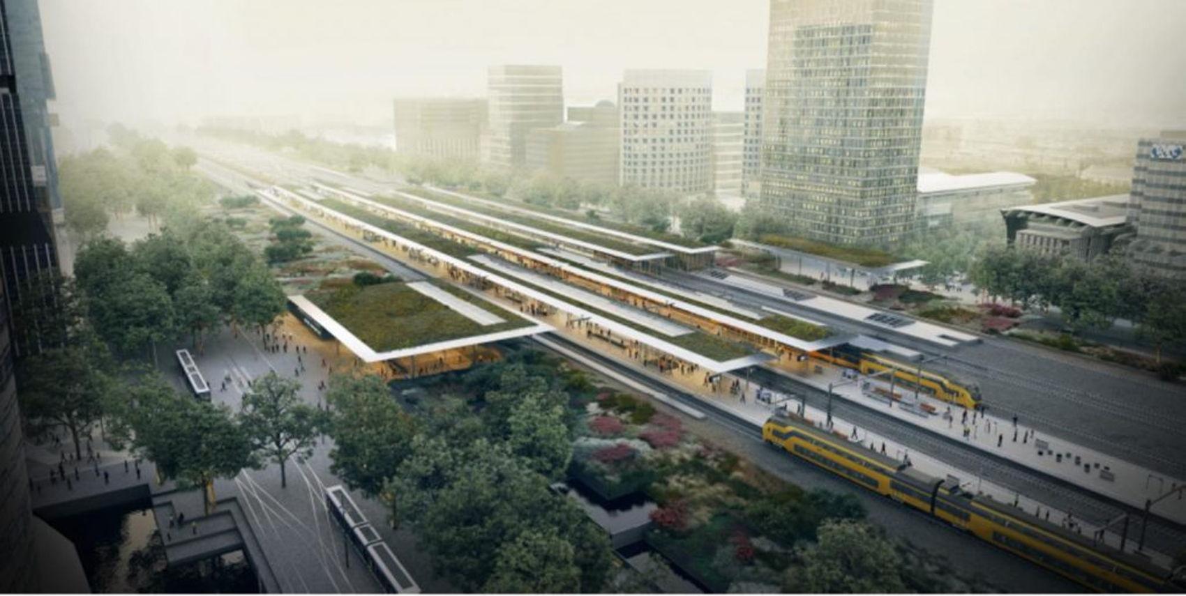 Bovenaanzicht van het toekomstige station Amsterdam Zuid, met links het nieuwe tramstation aan de Arnold Schönberglaan. Daar komt ook de tweede passagierstunnel, de Brittenpassage, te liggen voor een snelle overstap op het andere openbaar vervoer.