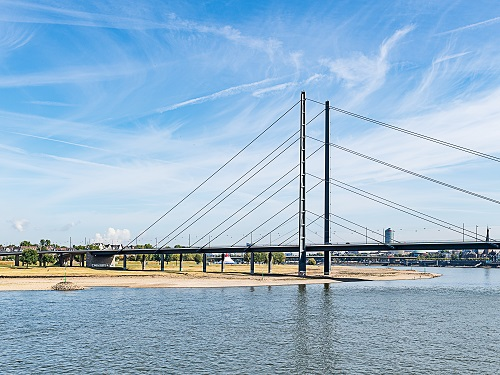 View on one of the Duesseldorf Rhine bridges