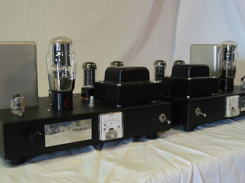 James Burgess 45/2A3 mono block amps - w/volume controls + lots of tubes