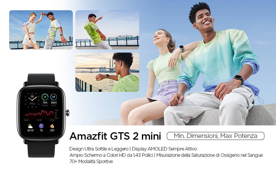Amazfit GTS 2 mini - Design Ultra Sottile e Leggero | Display AMOLED Sempre Attivo Ampio Schermo a Colori HD da 1,43 Pollici | Misurazione della Saturazione di Ossigeno nel Sangue 70+ Modalità Sportive