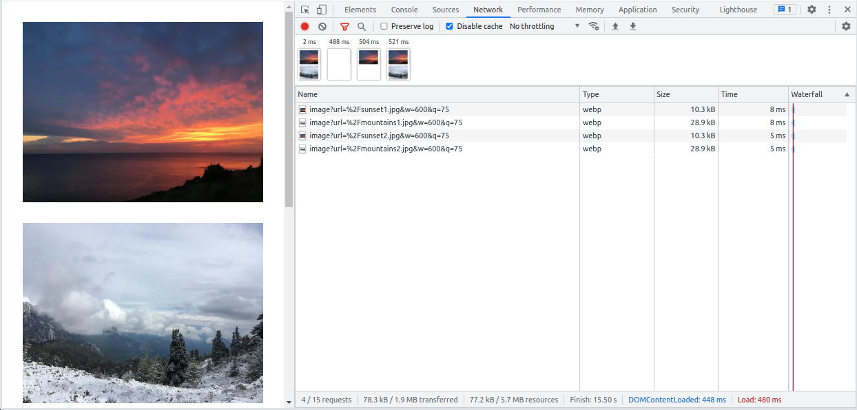 Responsive images with Next.js in Chrome Dev Tools