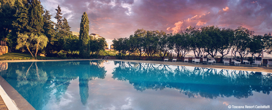 Hamburg - Pool complex La Piscina with breathtaking panoramic views of the beautiful landscape of the resort Castelfalfi, a former country estate in the heart of Tuscany.
