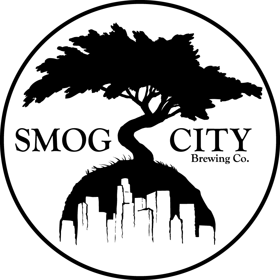 smog city brewing cirle logo with a cypress tree over the skyline