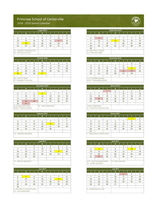 Primrose Centerville yearly calendar