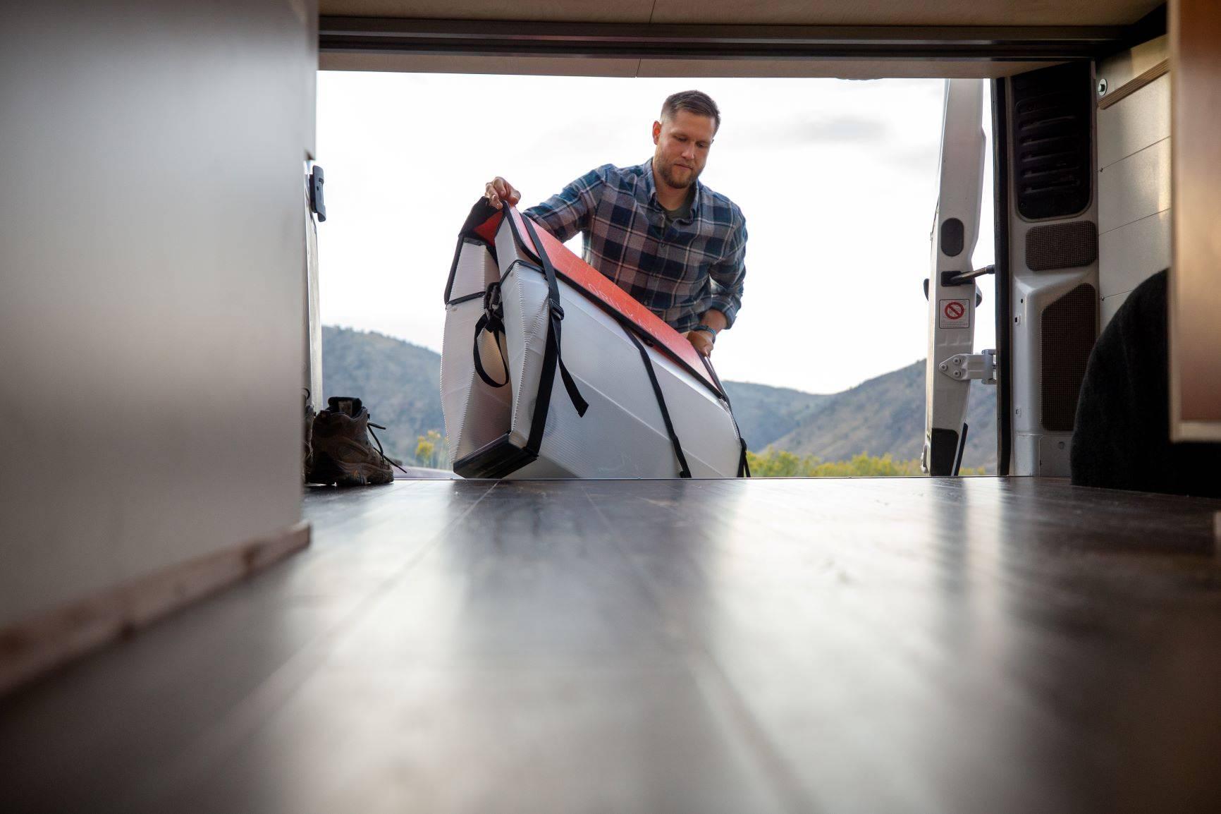 "The Bivy - Sprinter 144 / ProMaster 136 Van Conversion - Loading Oru Kayak into Under-Bed ""Garage"" - The Vansmith"