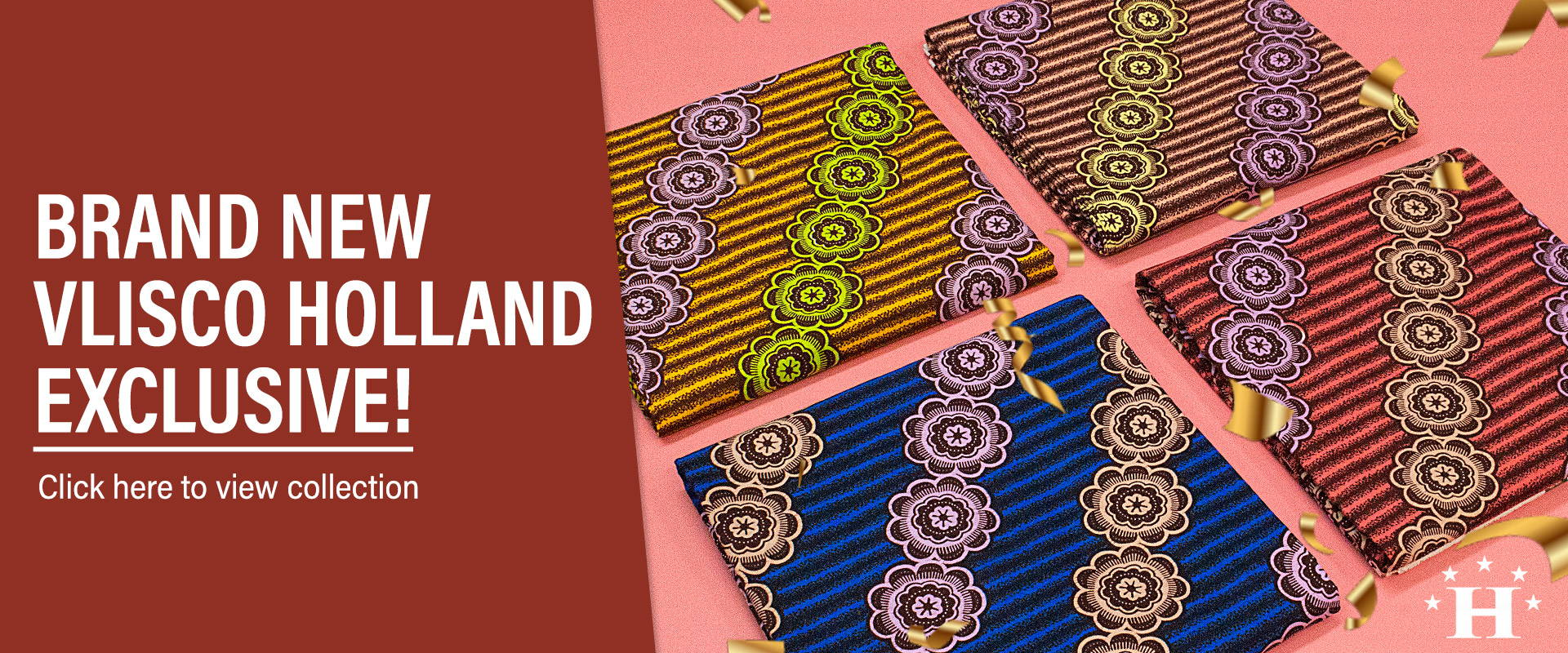 vlisco holland exclusive wax design available now at Hilton Textiles. Click Here!