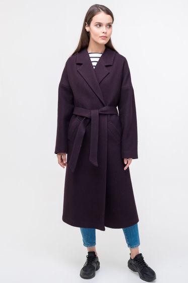 Женское пальто-халат баклажанового цвета из вареной шерсти