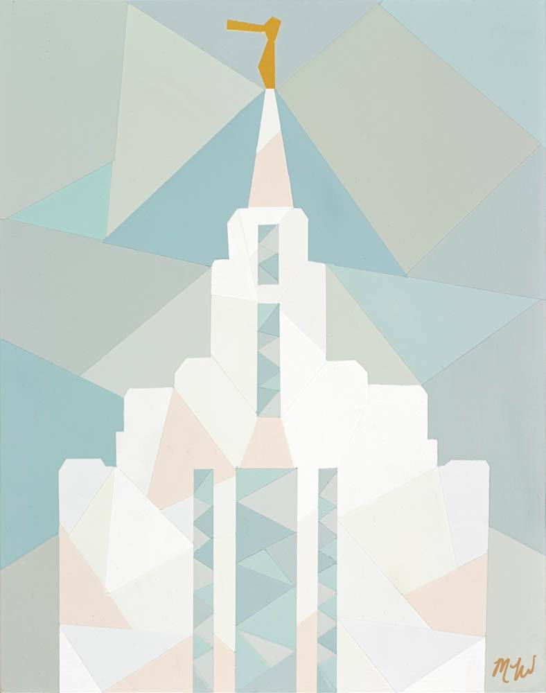 LDS art painting of the Oquirrh Mountain Temple done in geometric shapes.