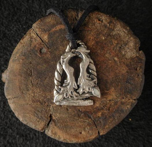 Кулон серебряный Птицы на ветке с чернением и натуральными камнями