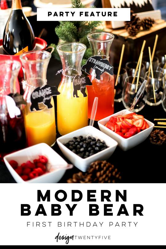 baby bear, baby bear first birthday, designtwentyfive, party feature, mimosa bar