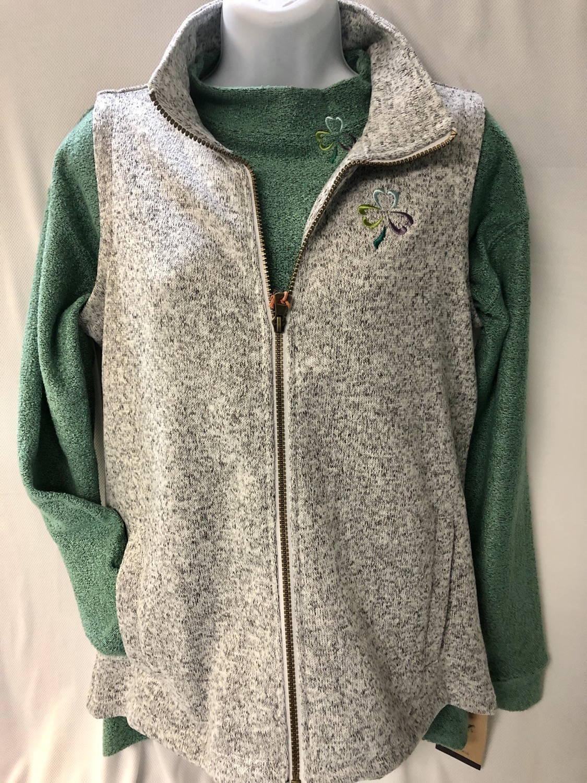 Shamrock Chic Marble Gray Sweaterfleece Vest Celtic Festival Online