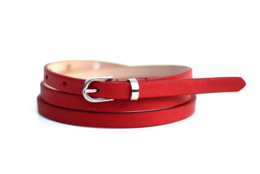 Кожаный узкий ремень (красный)