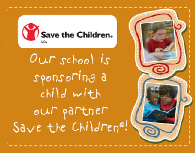 Poster stating that Primrose South Riding is a sponsor of an underprivileged child in association with Save The Children