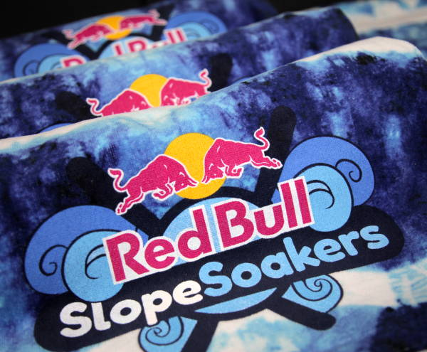Custom Wholesale Activewear - Dye Sublimation Cut and Sew - Red Bull Towels