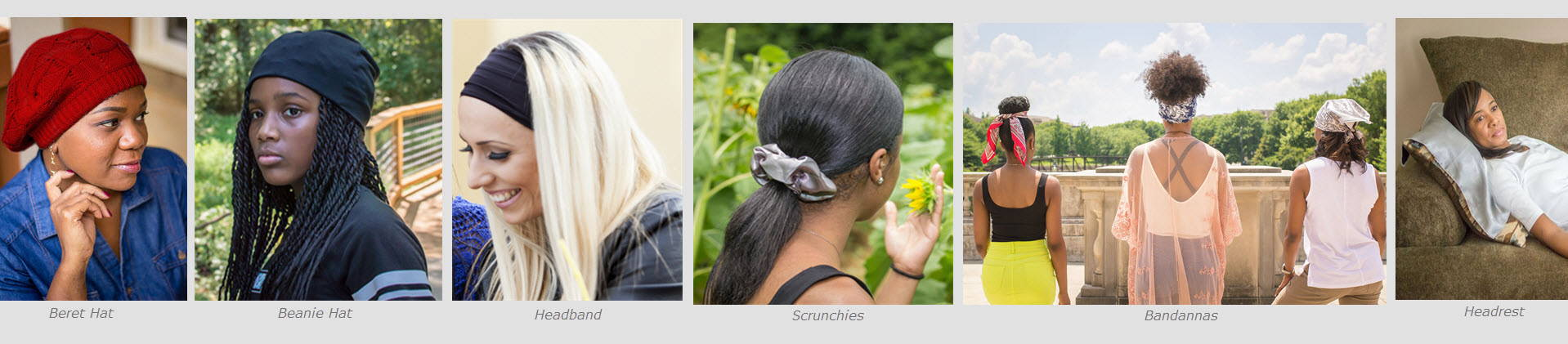 A banner of photos with models wearing each product in the bundle: satin lined beret hat, satin lined beanie hat, headband with satin lining, satin scrunchies, satin bandannas and satin headrest square.