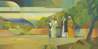 Modern painting of Jesus walking with two disciples.