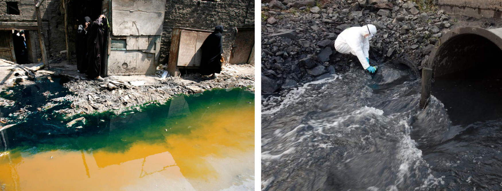 Contaminated wastewater being dumped into the environment, frequently containing hazardous chemicals.