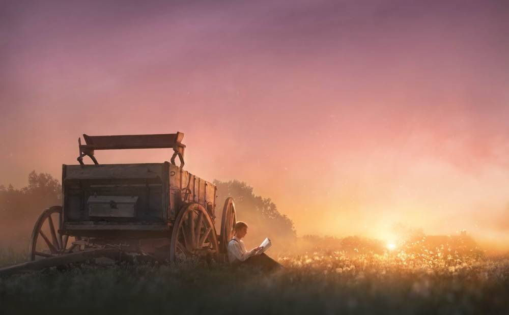 LDS art painting of Joseph Smith reading scriptures in the field at sunrise. He rests up against a wagon.